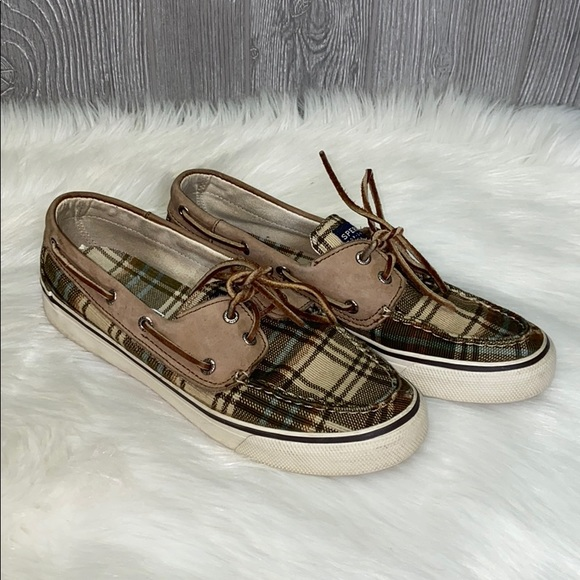 Sperry Top Sider Plaid Boat Shoes 7.5M